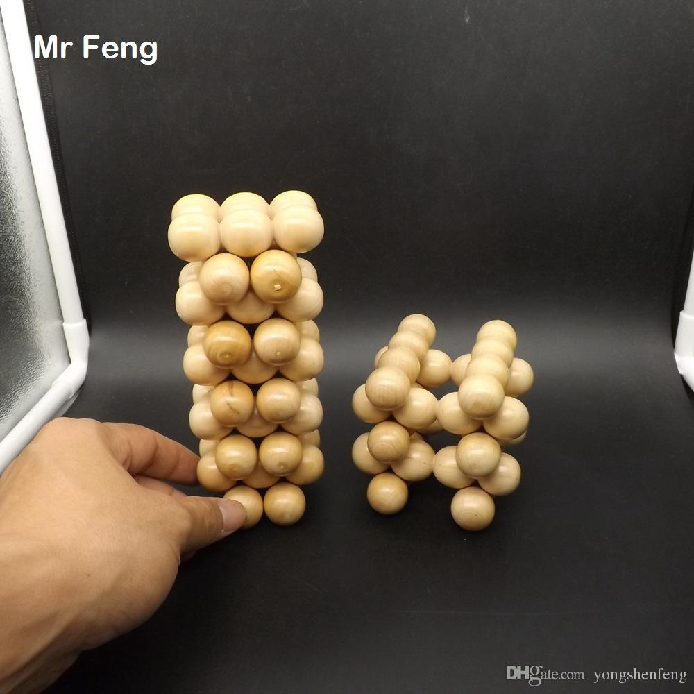 30 pcs Natural Blocks Round Ball Wood Game Novelty Gadget Early Head Start Training Toys Kids Gifts ( Model Number B292 )