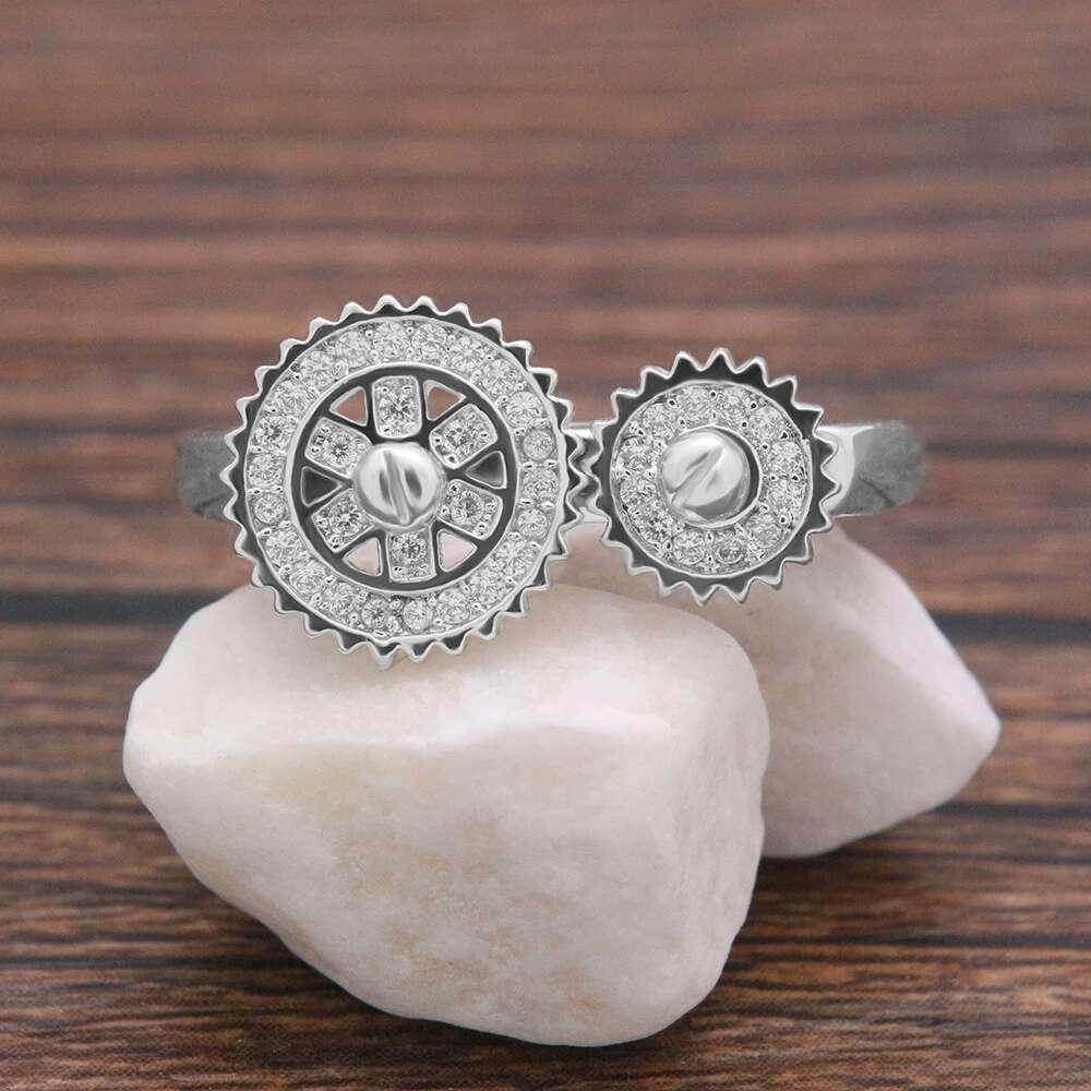 al por mayor de diamantes anillo de diamante de cristal engranajes mujeres de lujo anillos s925 regalo del amor de plata chapado en cobre circones la joyería para la novia