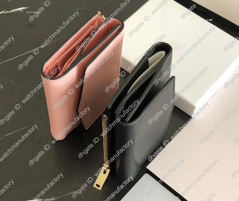 Luxury Designer Portefeuille en cuir femmes courtes Tri-fold court Solide Couleur lisse véritable matériel d'or rose de peau de vache noire Qualité