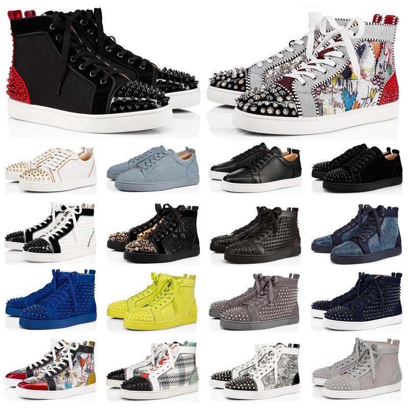 New fashion luxury designer shoes men women spike sneakers black red white bred leather suede Graffiti flats bottoms casual shoe with box