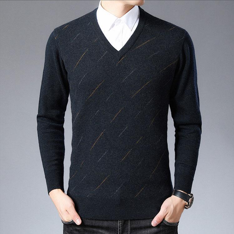 % 100 saf yün kazak erkek V yaka kazak iş rahat gevşek erkekler 2020 yeni erkek dibe gömlek