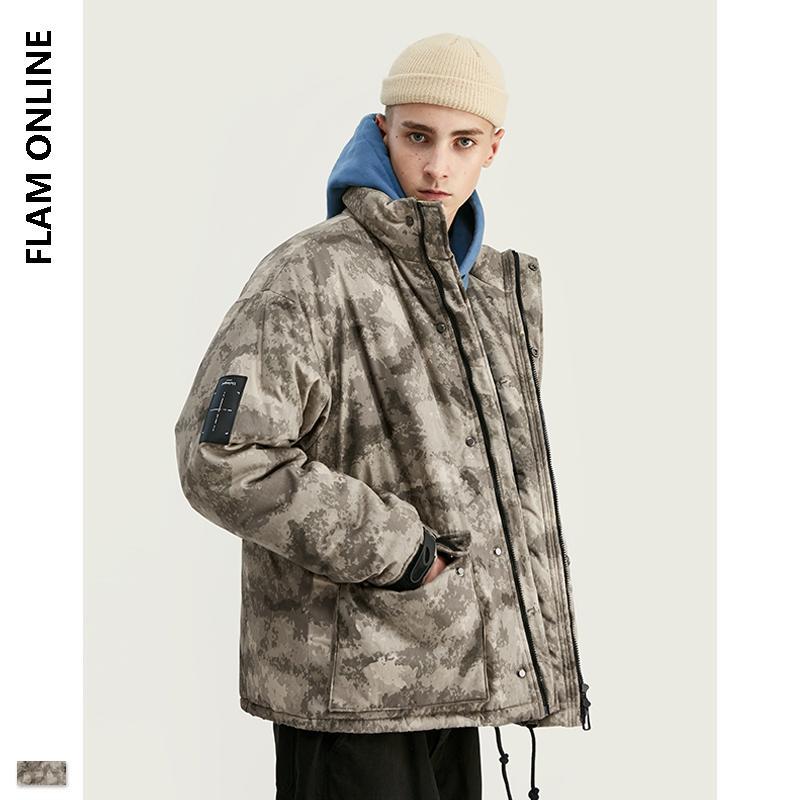 FLAM LÍNEA 2019 DISEÑO altos del invierno de la chaqueta de los hombres Parka ligera impresión de Camo Jacket Holgado Parka hombres con los bolsillos funcionales