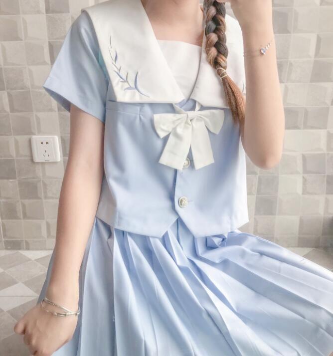 Japon Kolej JK Üniformalar Short Sleeve Top yüksek belli Katı Renk Pileli Etek Piece Kadın Yaz okulu etek