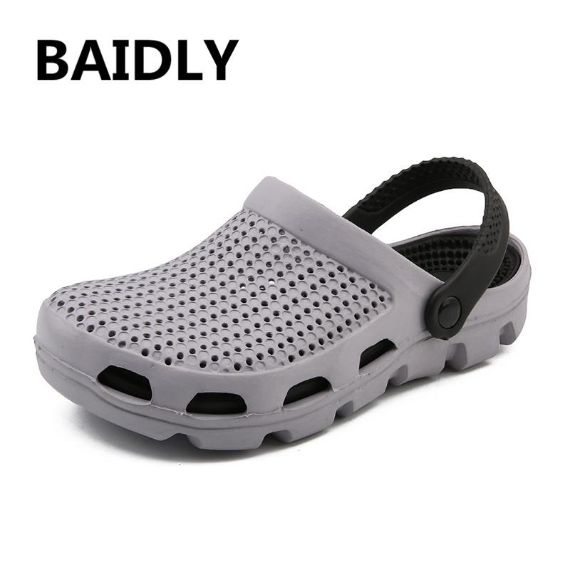 Mens Breathable Slippers Hollow Out Beach Sandals Garden Hole Shoes Summer 2018