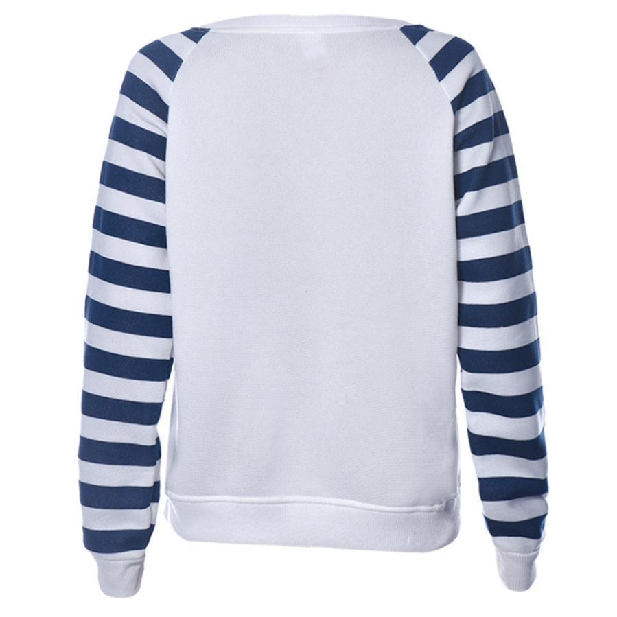 JECKSION mayor-2016 de las nuevas mujeres Camisa del ancla del barco impresión de la raya de manga larga con capucha suéter Tops #LYW