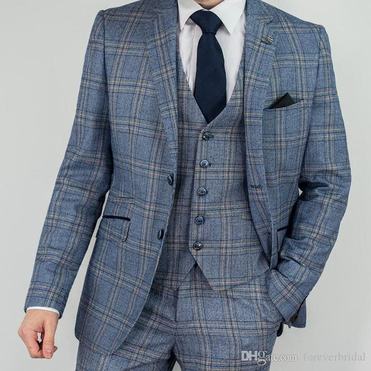 2019 New Fashion Mens Wedding Tuxedos British Plaid Groom Notched Lapel Pants Suits 3 Pieces Two Button Formal Blazer Jackets Clothes