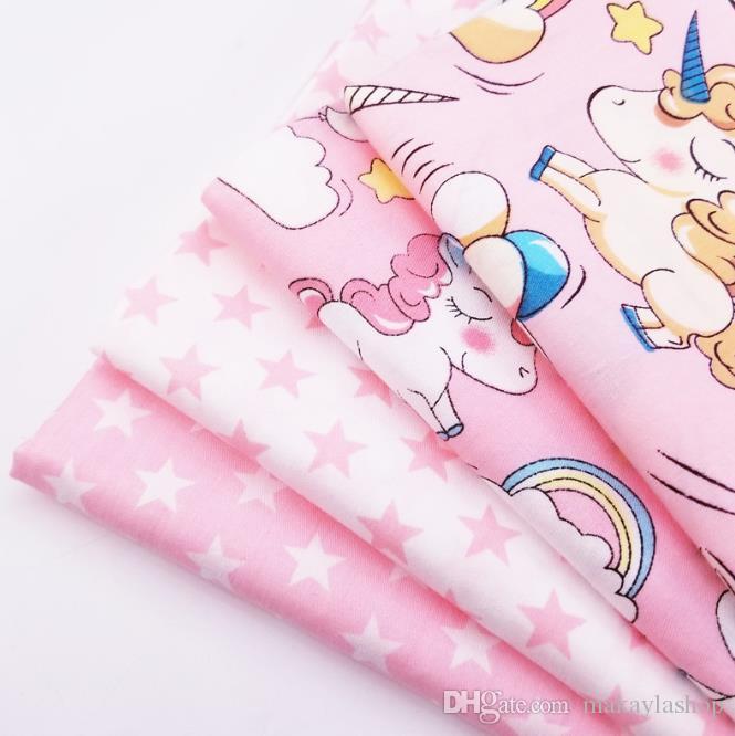 200x160cm En Mètres Coton Sergé quilting Tissu Rose Série Star / Unicorn imprimé pur coton Patchwork bricolage Matériel de couture