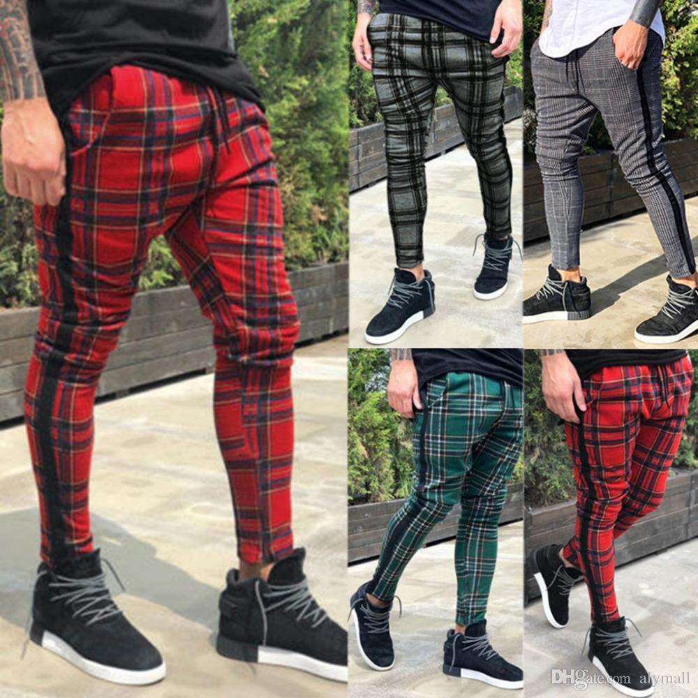 Men's Long Casual Sport Pants Slim Fit Plaid Trousers Running Joggers Sweatpants High Quality And Comfortable