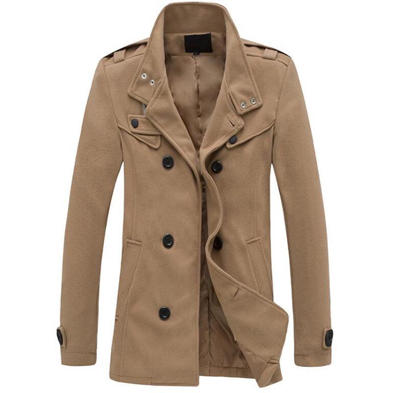 Capa de la manera del nuevo invierno de lana gruesa capa final de los hombres de doble botonadura abrigos Hombre 4 colores de la solapa de mezclas de lana Escudo con bolsillos