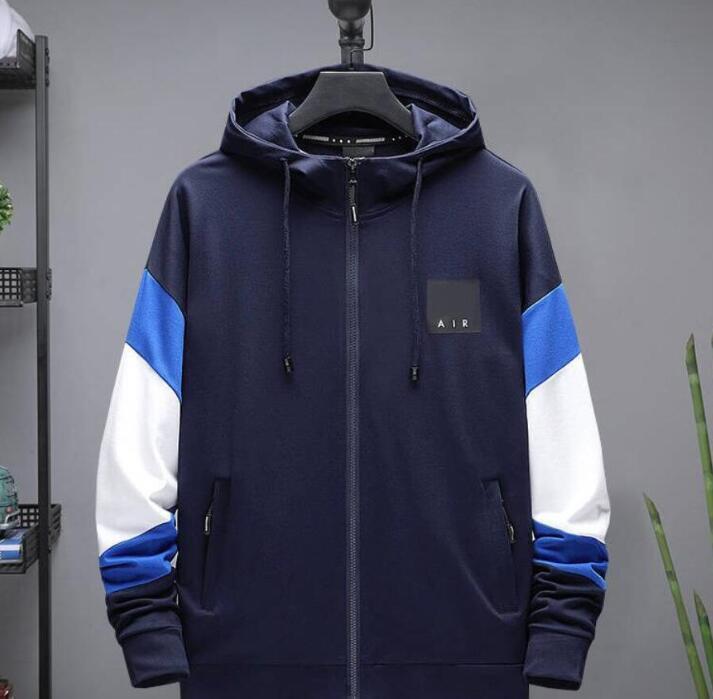 NOVO ativos Jackets desportivas de homens Letters Imprimir Moda moletom com capuz Homme alta qualidade Casual Mens Jacket Brasão Zipper com capuz L-5XL