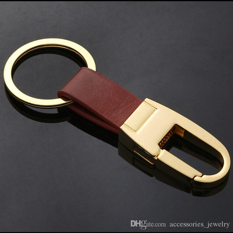 2020 Hot Sale Mens Best Gift High Quality Real Black and Brown Leather Keychain Handmade Metal Keychain Key Chain