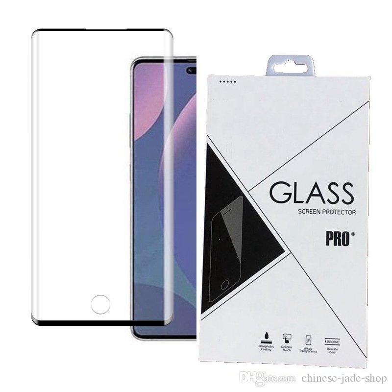 3D curvado vidro temperado tela protetor de borda do protetor para samsung galaxy nota 10 10 pro digital improck 100 pcs / lote pacote de varejo