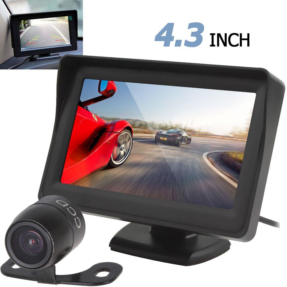 Freeshipping Hot Car Monitor 4.3 inch TFT LCD 480 x 272 Car Rearview Monitor + Waterproof 420 TV Lines CCD Backup Parking Camera