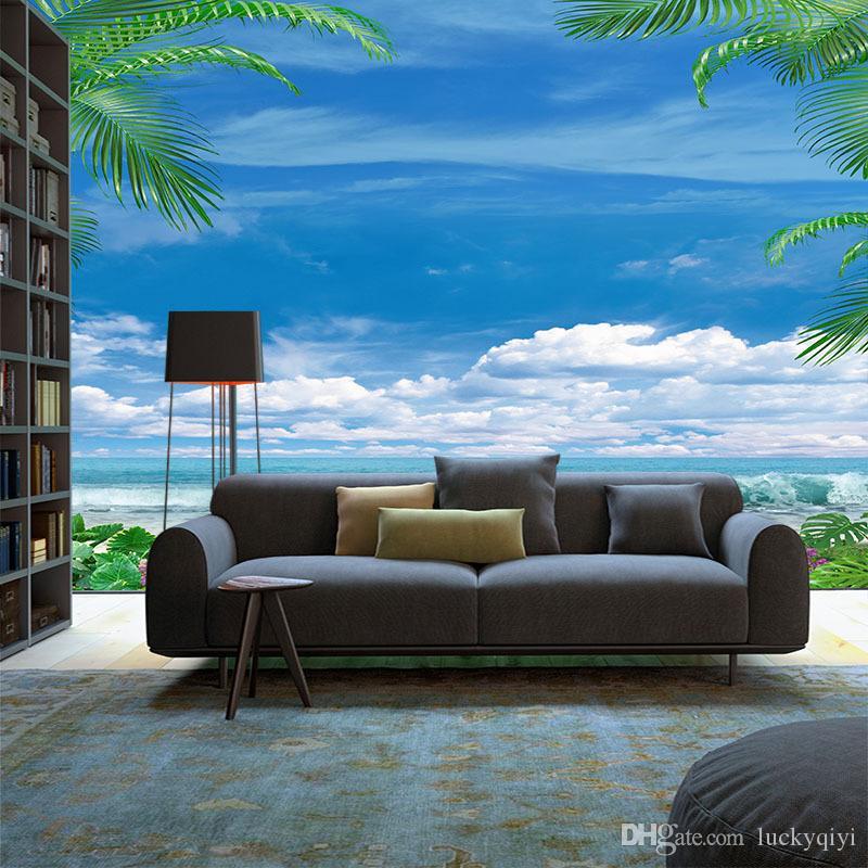 3D große Wandbild TV Hintergrund Wand blauer Himmel und weiße Wolken Tapete Strand Landschaft Sofa Wohnzimmer Schlafzimmer Umweltschutzes