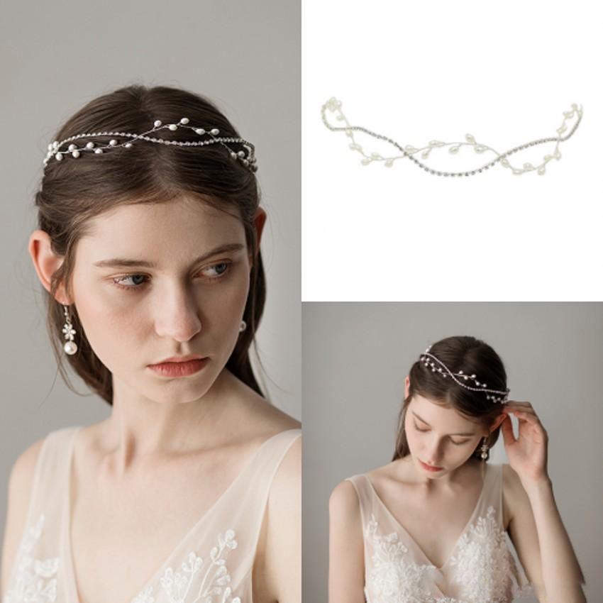 Women Girl White Wedding Pearl Bride Party Hair Silver Headband ribbon Lace Band