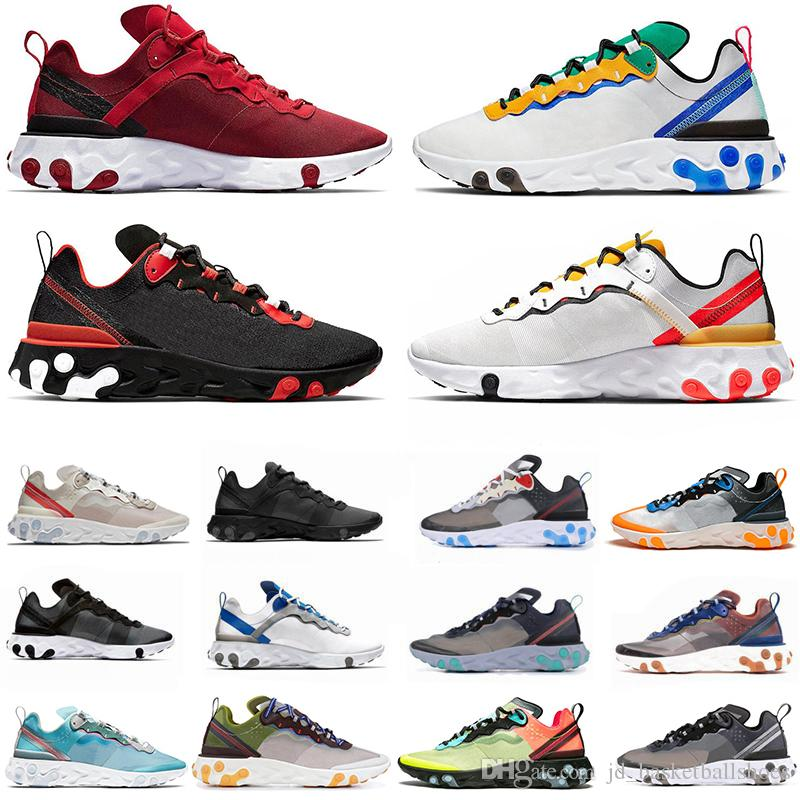 2020 Script React Element 55 87 Running Shoes Sail SE Tour Yellow Highlighted Blue Moss Anthracite Desert Sand mens trainers sports sneakers