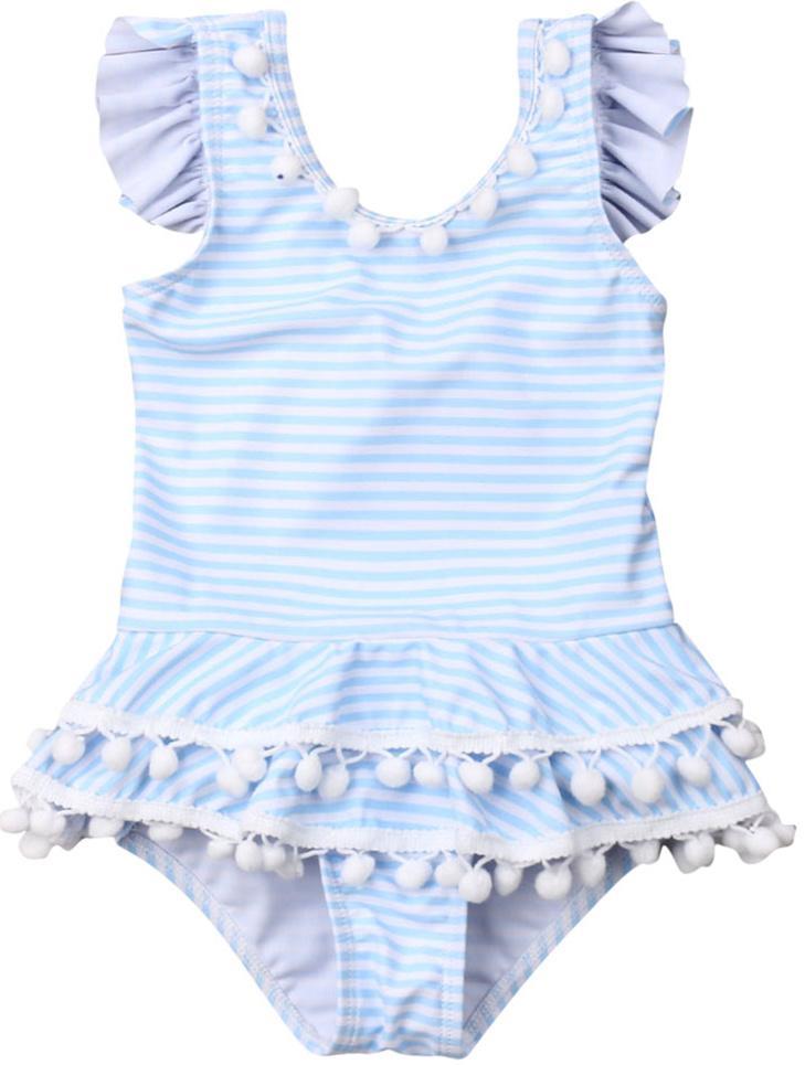 قطعة واحدة الوليد الاطفال طفل الفتيات الكشكشة مخطط بيكيني ملابس السباحة المايوه بحر الصيف لطيف الأميرة السباحة