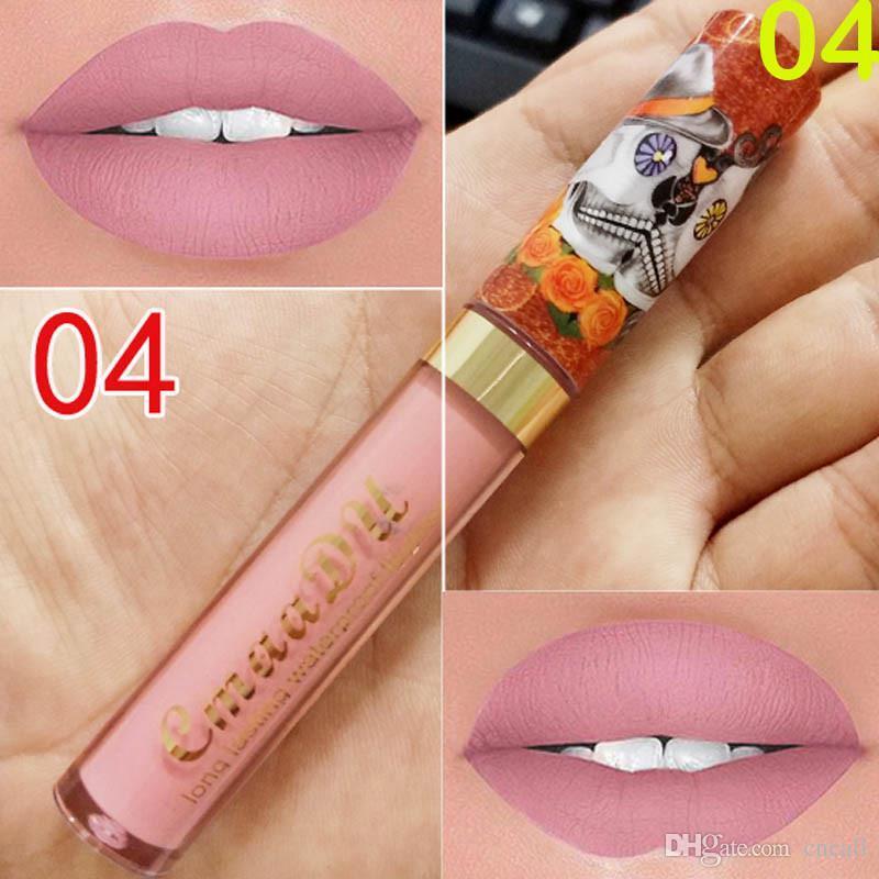 립글로스 3001318 5까지 새로운 메이크업 CmaaDu 매트 6 색 액체 립스틱 방수와 오래 지속되는 해골 TUPE 립스틱 립 메이크업