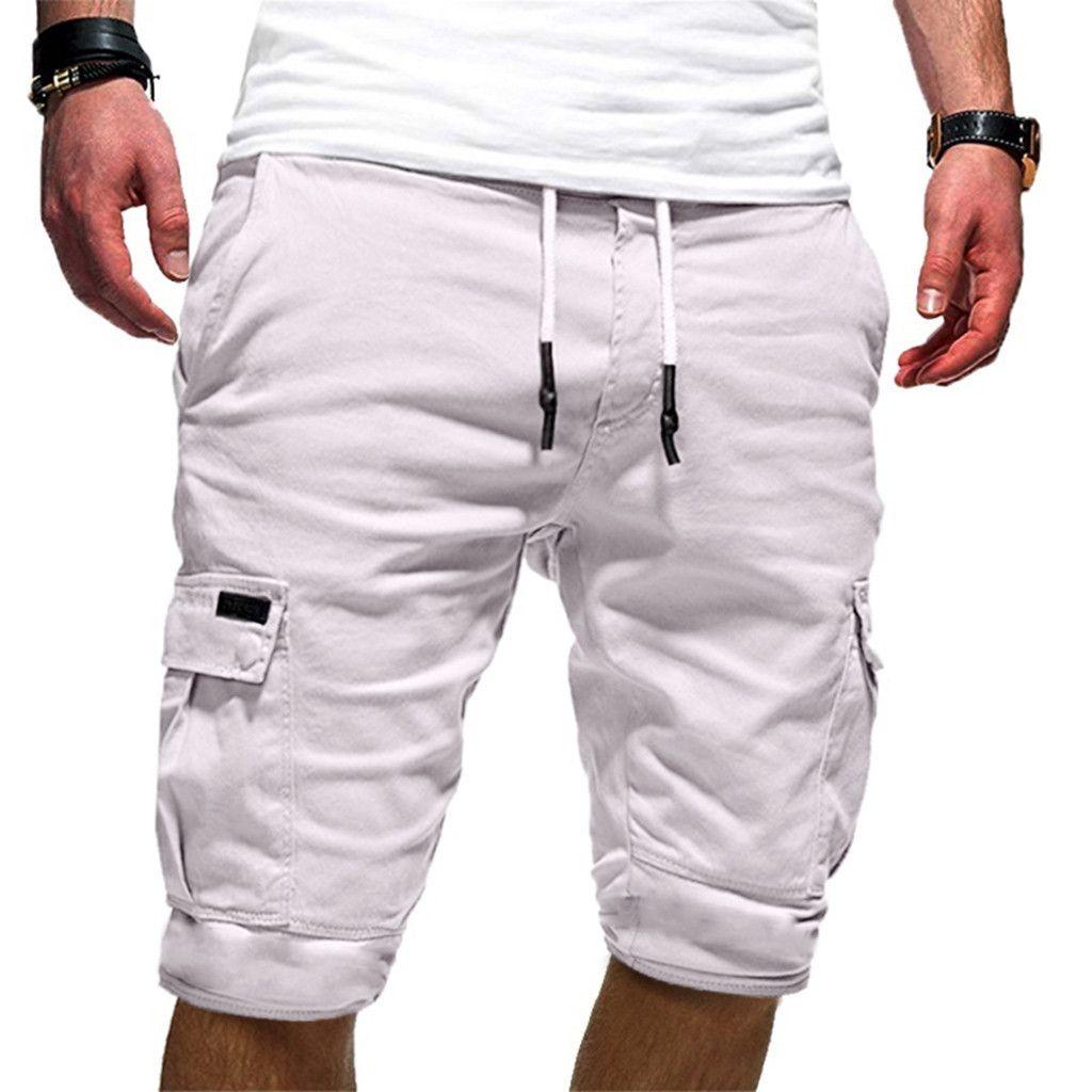 Casual Solid Knee Length Joggers Pockets Shorts Men Clothes Drawstring Sweatpants Short Pantalon Corto Hombre Chort Homme 1# Y190508