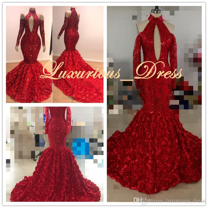 Real Pictures Sexy Red Sparkle Lace Mermaid Evening Dresses 2019 Formal Dress Full Sleeves 3D Flower Long Prom Gowns Robe De Soiree