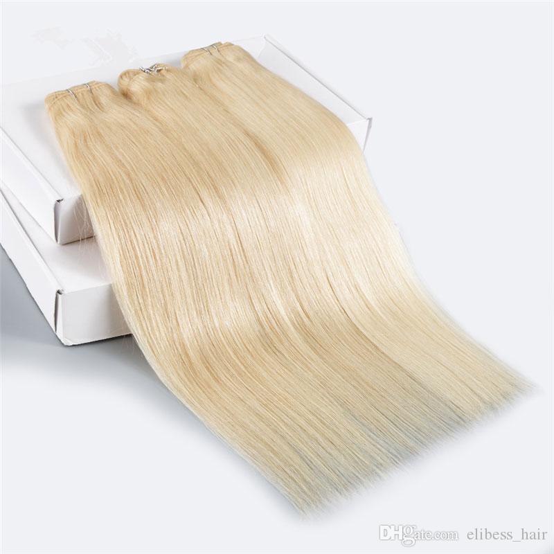 5 Пучки 50gper пучки свободный осыпание класс 8A 100% человеческих волос Белый Цвет # 613 Прямой малазийский Девы волос Плетение