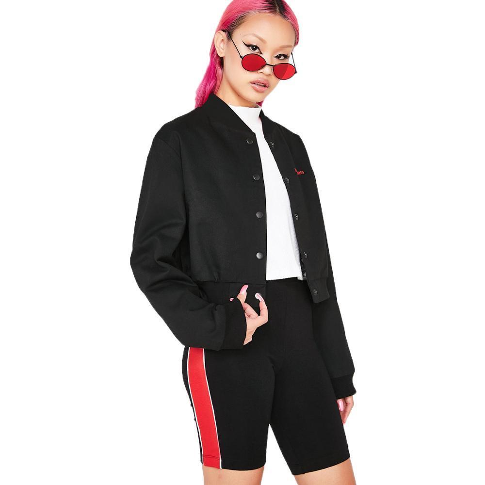 MINSUNDA Black Stand Collar Letters Embroidery Crop Jacket Regular Streetwear Zip Sleeve Button Short Jacket Women Casual