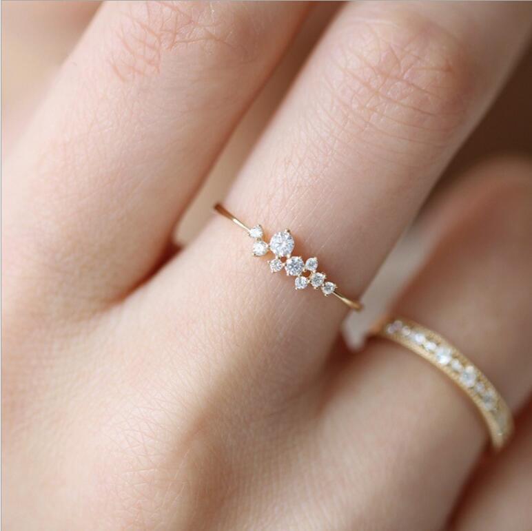 Кольцо из чистого золота 14 карат с бриллиантами Простое кольцо из циркона Простые кольца для женщин