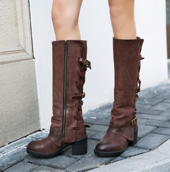 Коричневый черный женщина пряжки 65 мм Sqaure каблуки молния сторона 100% натуральная кожа круглый носок зима колено высокие длинные сапоги