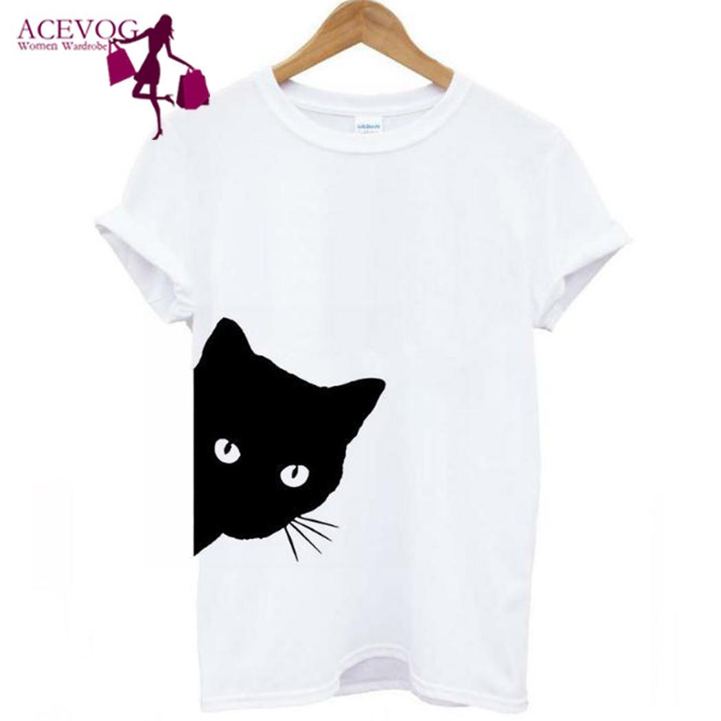 T-shirt Pattern Cat Verão Mulheres Casual O-Neck manga curta Pullover frouxo branco, cinza, preto