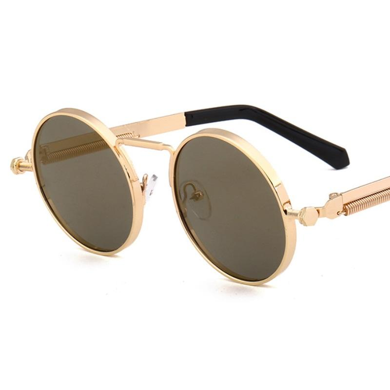 الرجعية steampunk دائرة خمر جولة نظارات النساء الرجال الشرير نمط مكبرة إطار معدني أسود نظارات الشمس الذكور uv400