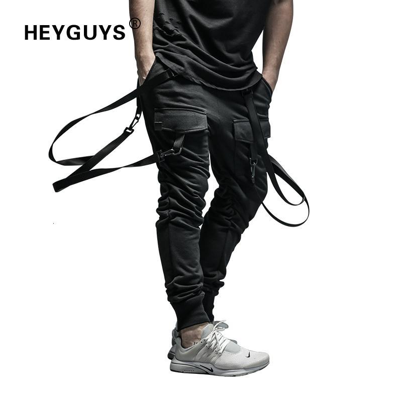 HEYGUYS 2018 Yeni Kuru Erkek Pantolon cebi Tam Boy Erkekler HIPHOP koşucuların Pantolon Artı boyutu Pantolon erkek kemer kadın V191031 Streetwear