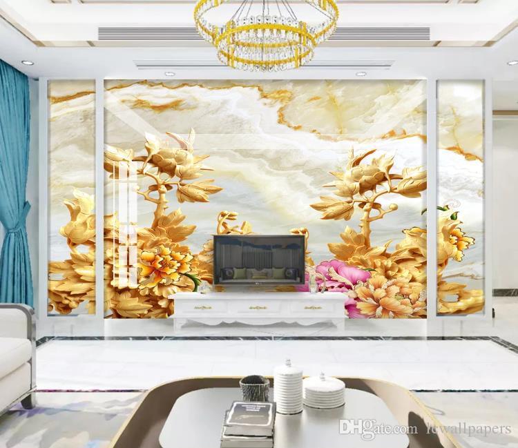 Fondo de pantalla 3D de piedra de mármol tallado en madera de peonía Pintura Mural fotográfico de la sala del restaurante La decoración casera creativa pared