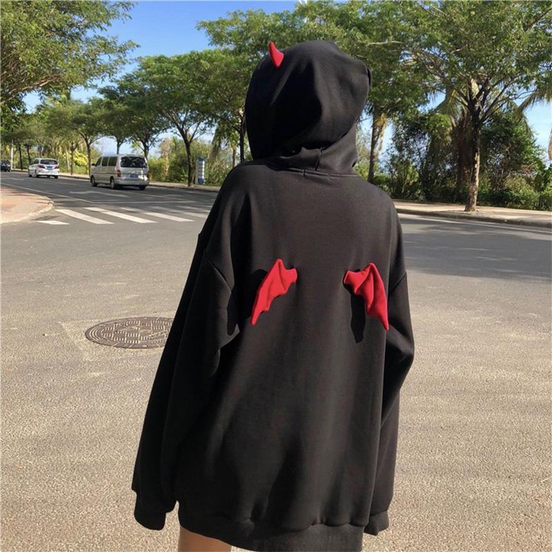 Harajuku Devil Wing с капюшоном женщин ватки фуфайки вскользь Сыпучие длинным рукавом толстовки Толстовка Женщины Осень Теплый пуловер Топы CJ191205