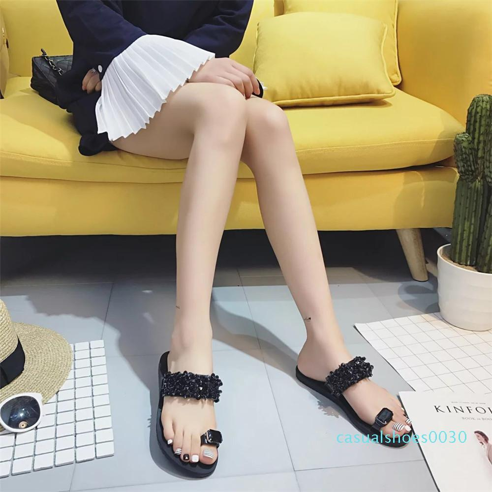Женские сандалии вьетнамки новая летняя мода горный хрусталь клинья обувь Кристалл Леди Повседневная обувь размер 35-39 женщин c30