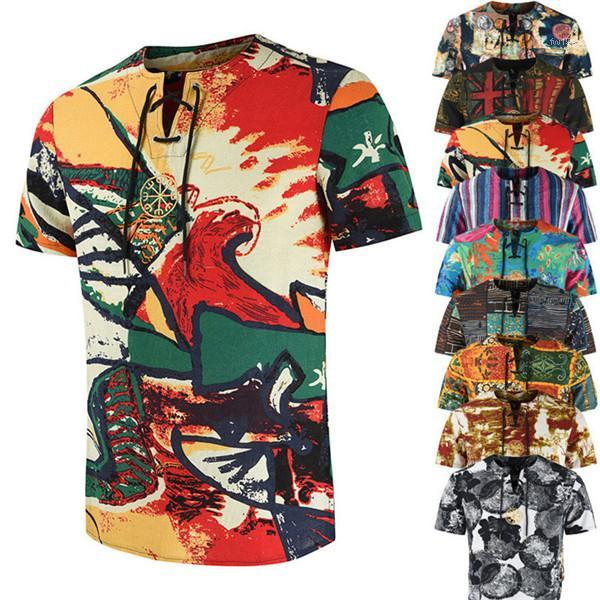 Hommes d'été T-shirts Floral O cou à manches courtes avec ceinture Slim T-shirts d'été 9colors Imprimé 3D