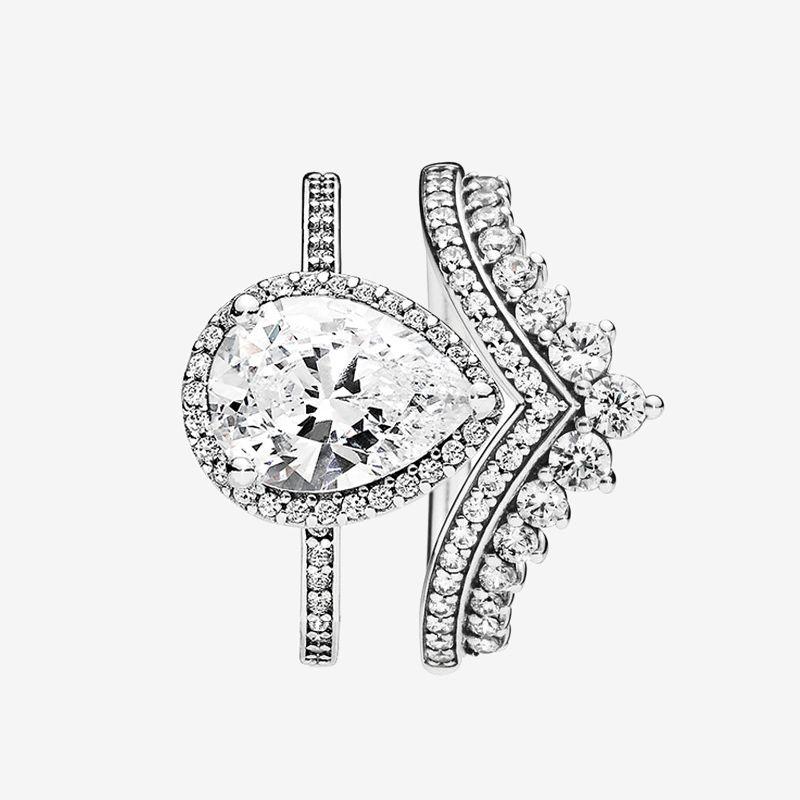 Princess Hooding Ring Teardrop Кольца Установить Top Fashion 925 Стерлинговые Серебряные Серебряные Женщины Свадебные Ювелирные Изделия CZ Алмазное кольцо с оригинальной коробкой