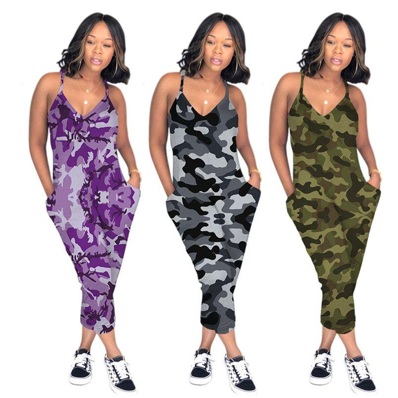 Damen Overalls Strampler Mode stilvolle Tasche ärmellose trägerlose Capris Kontrast Camouflage Farbe sexy Sommerkleidung plus Größe 231