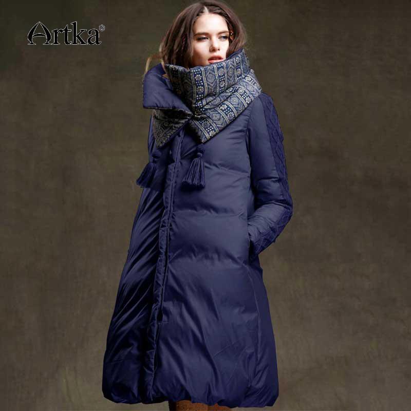 Artka la chaqueta del invierno de las mujeres 90% pato abajo cubren 2.018 caliente Parka Mujer largo abajo chaqueta de la capa extraíble Con Bufanda ZK15357D T200102 acolchado