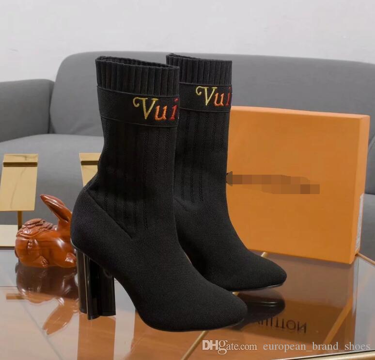 Nuovo modo uomini e stivali tacco alto delle donne comode scarpe calze di qualità donna sexy stivali cavaliere TSA4543