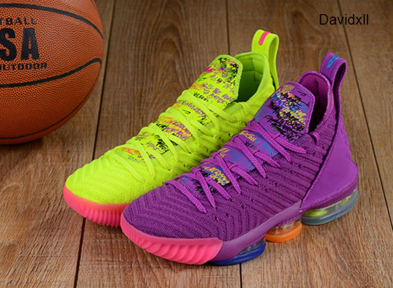 НОВЫЕ дизайнерские туфли 16 Баскетбольная обувь для ZOOM 16s Равенство BHM граффити Спорт Мужские обуви ПМК офф Обучение белый кроссовки Размер 40-46