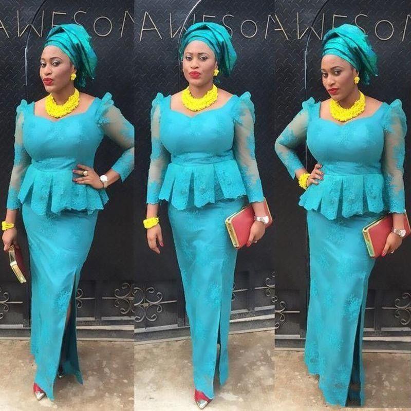 Nigerian Evening Dresses Aso Ebi Lace Sheath Evening Dress Long Sleeve African Formal Party Dress Vestido De Festa