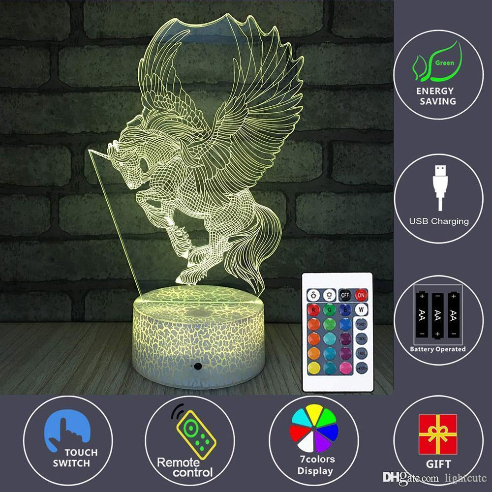 Cadeaux Licorne Enfants Night Lights Lampe de chevet 7 couleurs Changement à distance Illusion optique Light Control 3D Nuit Enfants Lampes Lampe enfants Comme cadeau