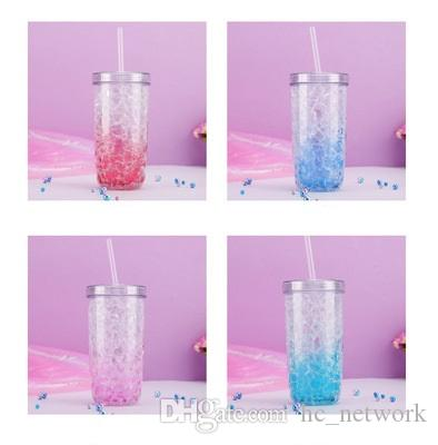 Copa de paja de 17 oz Vacador de hielo creativo de verano con tapa y preservación fría de paja Doble plástico Taza de plástico Botellas de agua rápido Axvkq