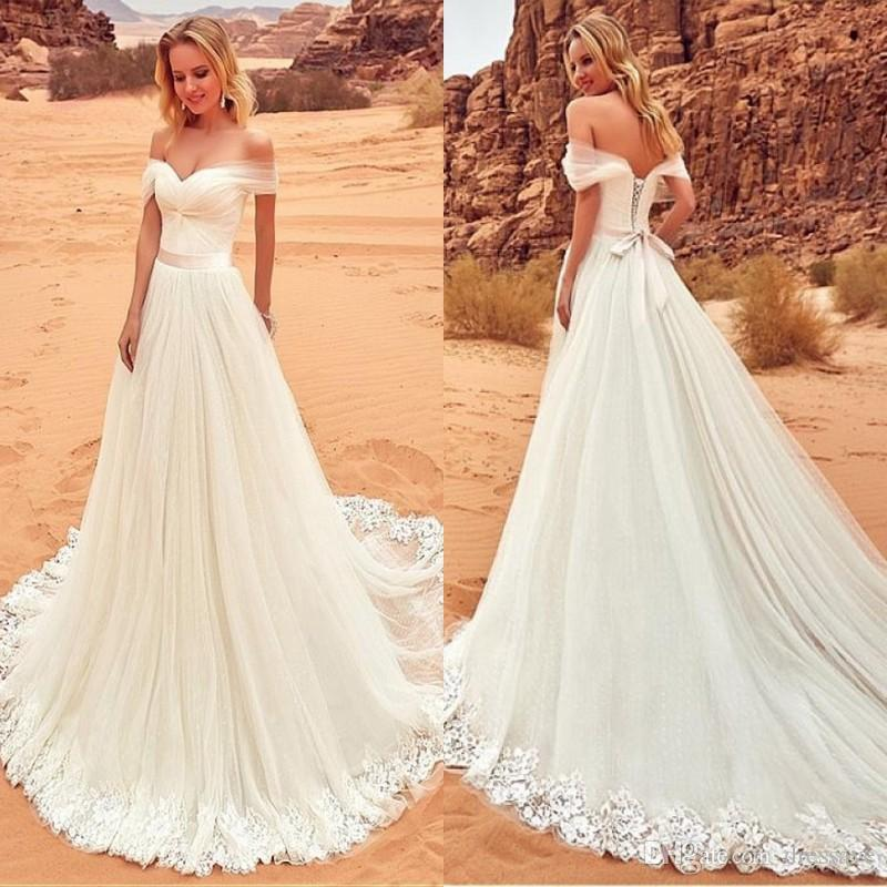 2020 New Arrival Bohemian Wedding Dresses Off The Shoulder A Line Beach Lace-up Back Sweep Train Cheap Simple Boho Bridal Gowns