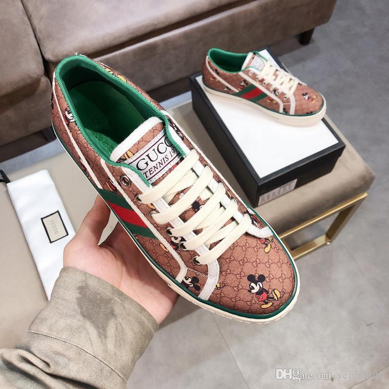 A1 leather Flats Designer sneakers men women Classic Casual Shoes python tiger bee Flower Embroidered Cock Love sneakers