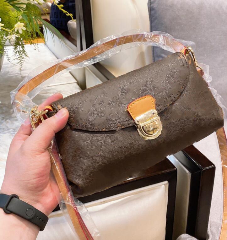 Designer Femmes Vintage presbytie cuir brun Lettre fleur sac bandoulière portable sac à main classique Sacs à bandoulière demi-lune Porte-monnaie