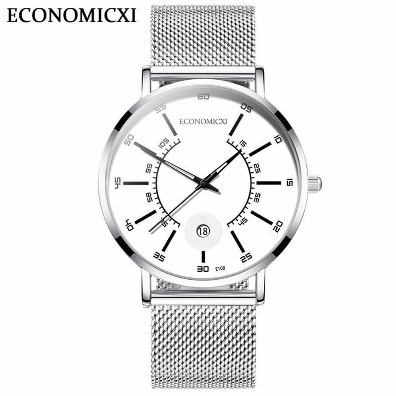 ECONOMICXI миноритарными Часы Мужские часы Мужские кварцевые часы Trend Студенты Простой пояс Light
