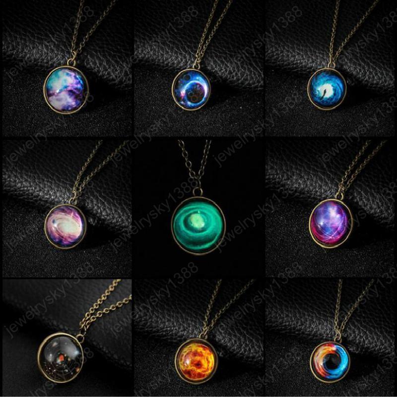 Espace extra-atmosphérique Bijoux nébuleuse Collier Galaxy Universe Pendentif en verre Sphère Boule Colliers
