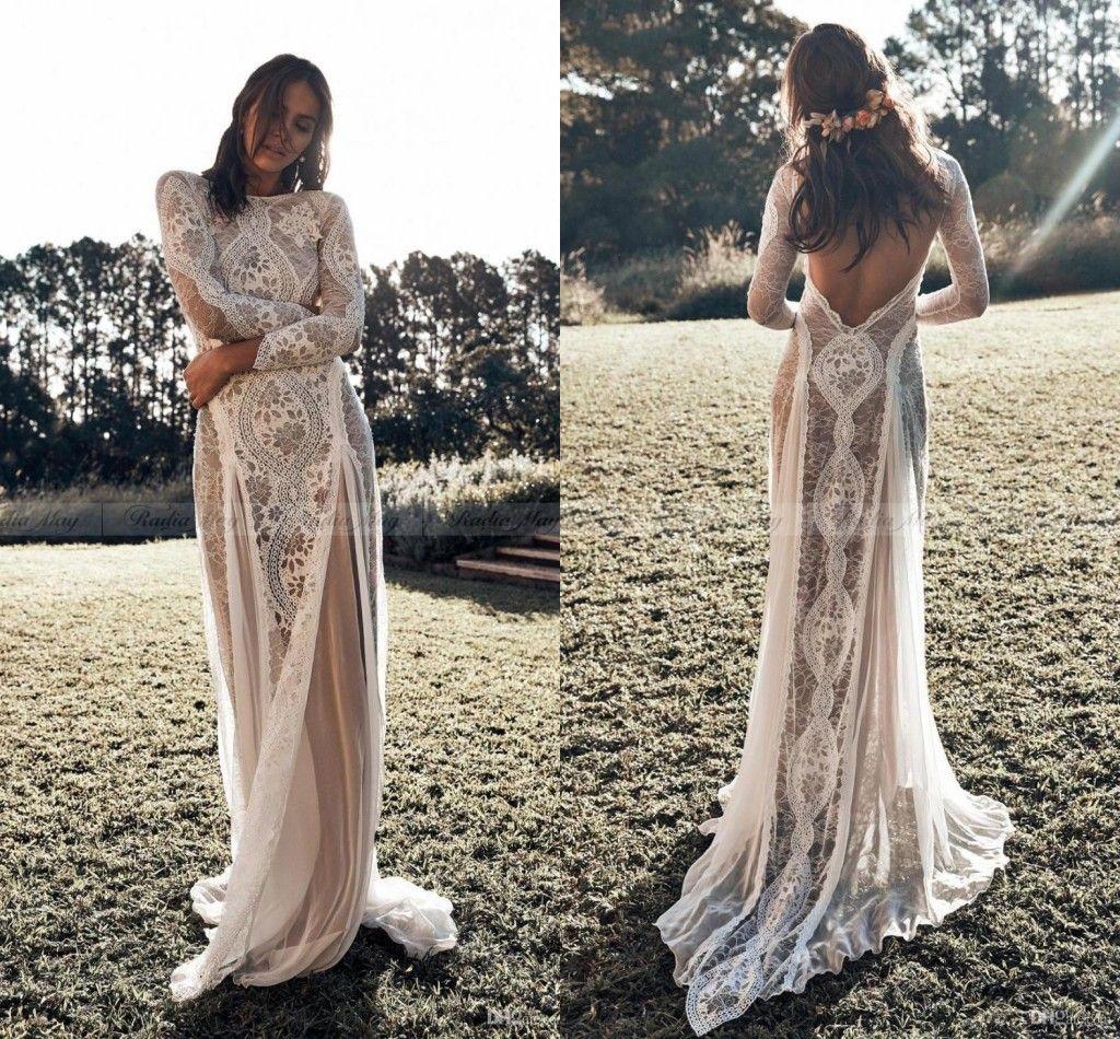 vestido vestido de playa de Boho del cordón de la vendimia vestidos de novia de manga larga apliques sin respaldo del estilo de país de Bohemia boda vestidos de novia gitana Hippie