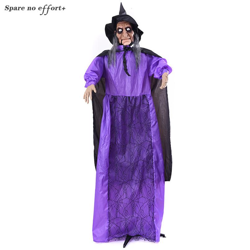 Big Size Standing Hanging Ghost Horror Glowing Witch Halloween Party Scary Tricky Prop Frighten Standing Dolls for Haunted House